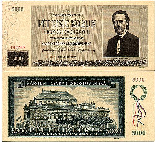 5000 Kčs , 5000 Korun československých A, 1.11.1945,  bankovka  di Max Svabinsky.jpg retro