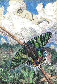 Max Švabinský,Schmetterling und Akt, Carboncino e acquerello, 23x16 cm