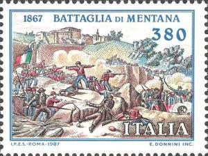 120º anniversario della battaglia di Mentana, emesso il 3 novembre 1987