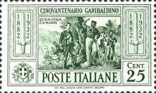 50º anniversario della morte di Giuseppe Garibaldi, 6 aprile 1932, serie di 10 valori