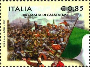 La battaglia di Calatafimi, da un dipinto di R. Legat