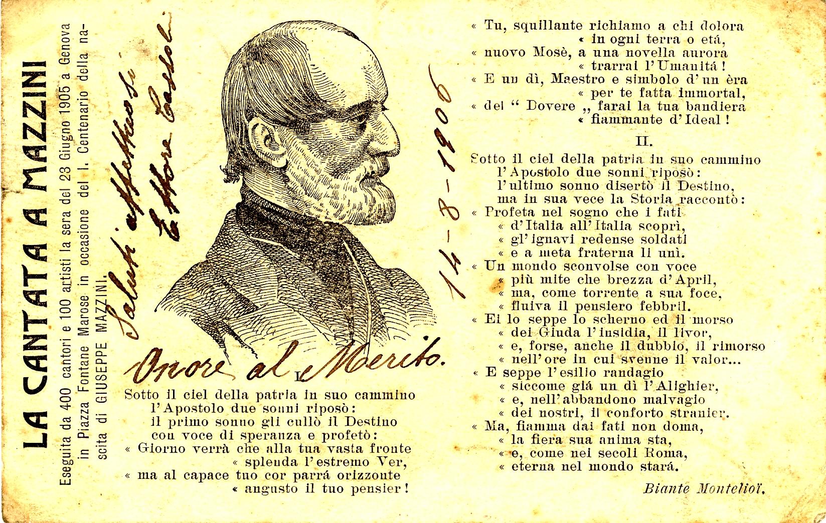 Cantata a Mazzini - 1906