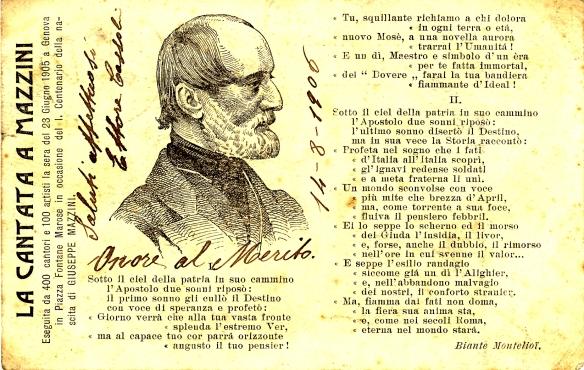 Cartolina Postale italiana spedita nel 1906 da Ventimiglia a Costantinopoli.