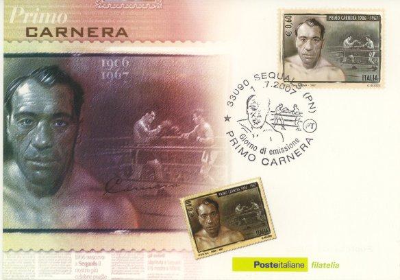 Cartolina postale emessa per il 40°anniversario della morte del grande Primo Carnera.