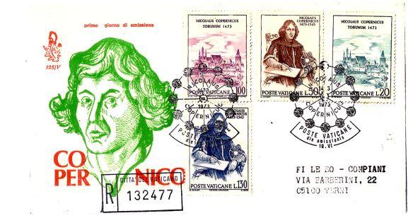 """Città del vaticano: """" Copernico """", serie completa di francobolli su busta Primo Giorno di emissione per il 400° anniversario della nascita"""
