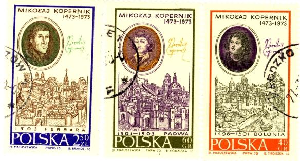Serie di tre francobolli polacchi del 1970 che ricordano i soggiorni di studio nelle tre città italiane.