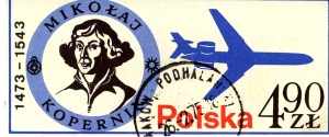 Erinnofilo della Polonia dedicato a copernico.