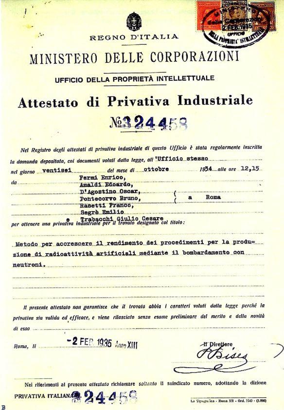 """Attestato di Privativa Industriale del Ministero delle Corporazioni del Regno d'Italia del 2 Febbraio 1925 riferito ai """"ragazzi di via Panisperna"""", tra cui Edoardo Amaldi."""