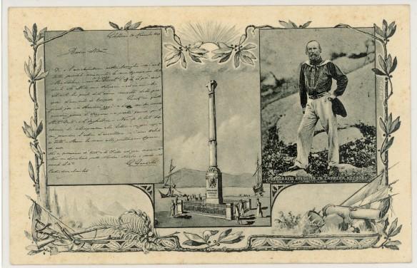 Cartolina ufficiale del Comitato Onoranze per il Primo Centenario della nascita di G.Garibaldi; Maddalena-Caprera 4 Luglio 1905.