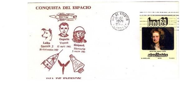 Newton: emissione delle Poste messicane ( 1970 ) sullaa spintaa data da Newton alla fisica ed alle conquiste spaziali.