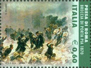 emissione del 4 Novembre 2011 - Presa di Roma, breccia di porta Pia, 1870