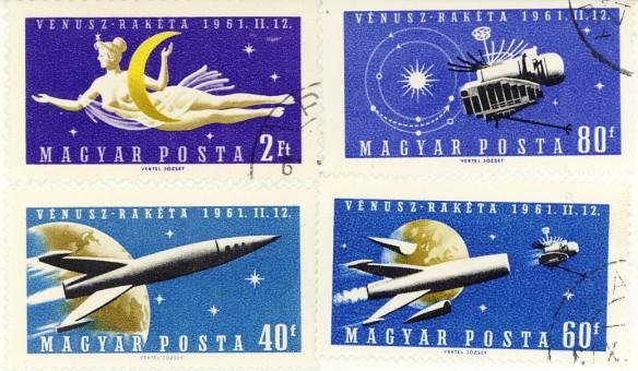Ungheria 1961, lancio di missile verso il pianeta Venere ( 4 valori).