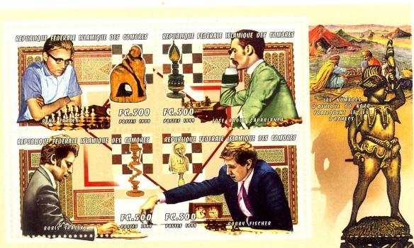 Rep. fed. Islamica delle Comore, 1999 - nel foglietto sono ricordati Bent Larsen, Bobby Fischer, Boris Spassky e Raoul Capablanca