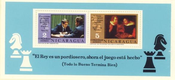 Nicaragua - foglietto commemorativo del mondiale Fischer - Spassky del 1972