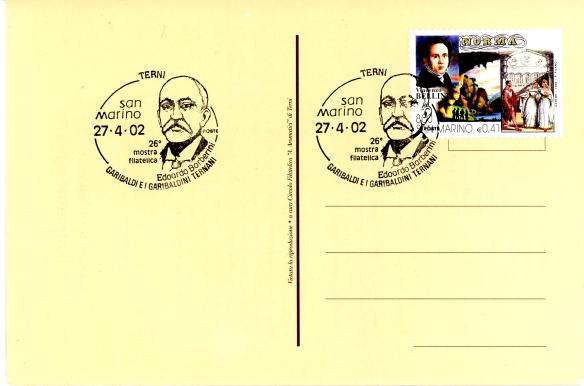 """Annullo postale commemorativo di Edoardo Barberini realizzato dal nostro Circolo in occasione della Mostra - convegno """" Garibaldi e i Garibaldini ternani """" del 2002"""