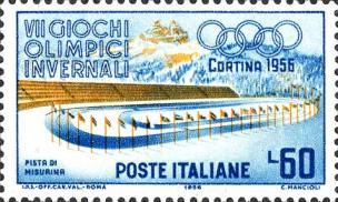 1956, VII giochi olimpici invernali a Cortina- Pista di pattinaggio di Misurina e sullo sfondo le tre cime di Lavaredo. -